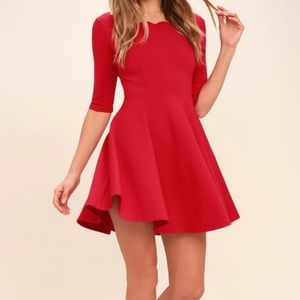 Lulus fit & flare scalloped neckline dress